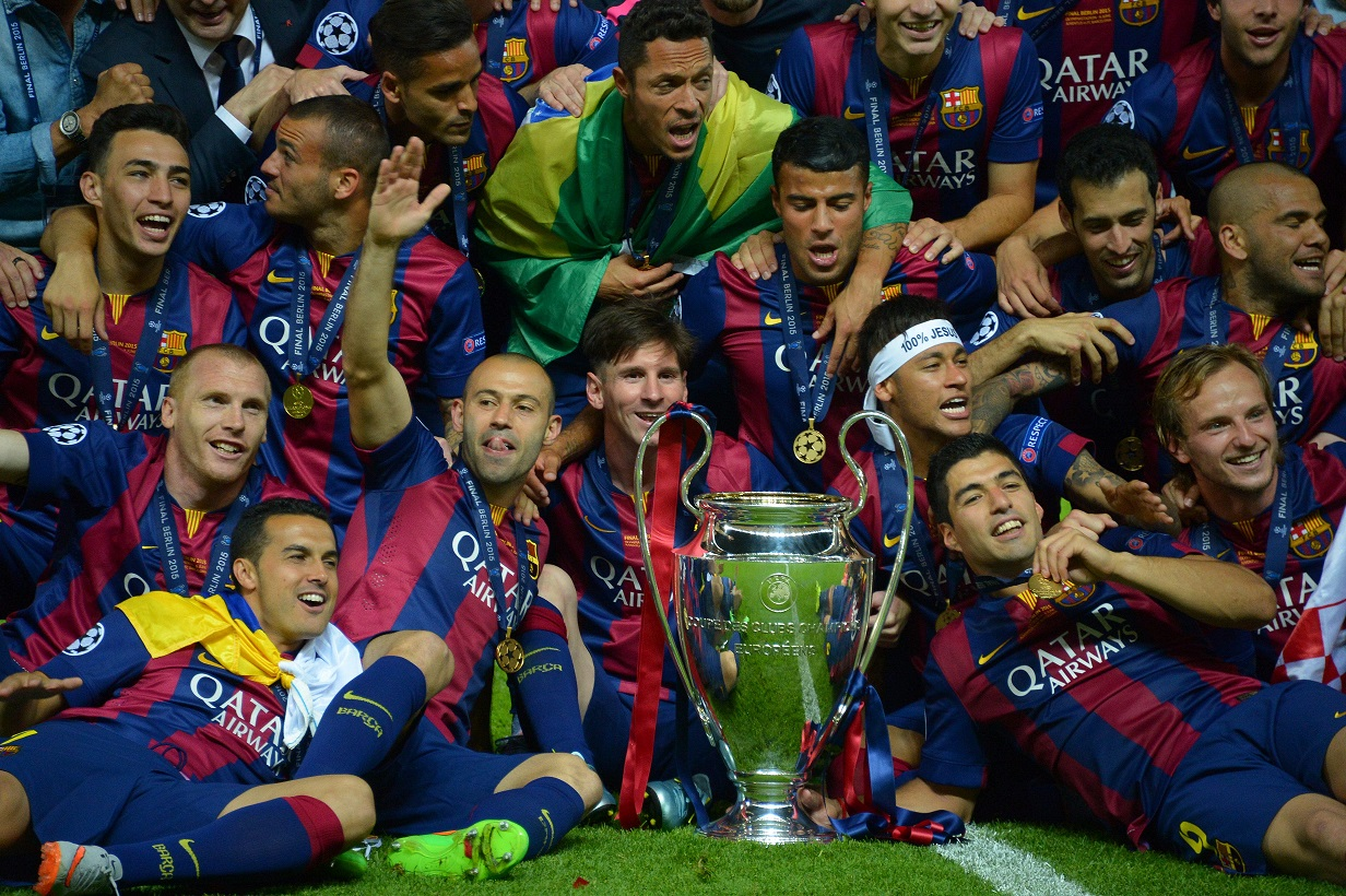 Barcelona's receiving the Champions League Cup after the Champion's League Final soccer match, Barcelona vs Juventus in Berlin, Germany, on June 6th, 2015. Barcelona won 3-1. Photo by Henri Szwarc/ABACAPRESS.COM  Dostawca: PAP/Abaca